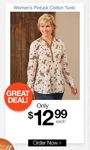 Women's Pintck Cotton Tunic