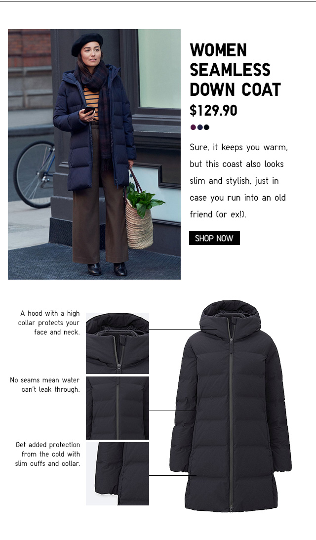 WOMEN SEAMLESS DOWN COAT $129.90