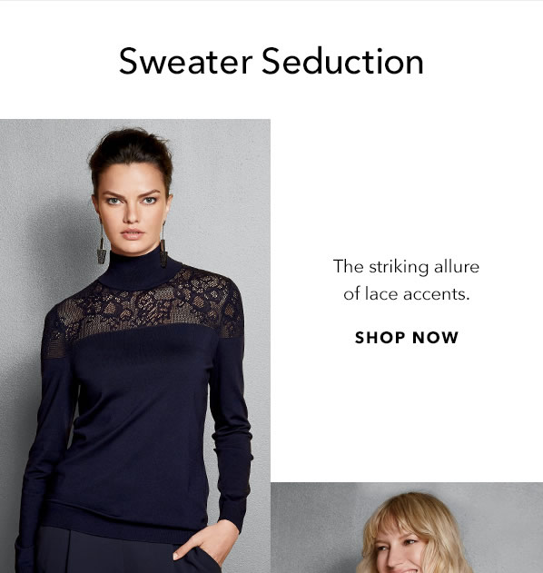 Sweaters Seduction - The striking allure of lace accents. - [Shop Now]