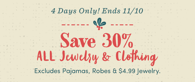 4 Days Only! Save 30% All Jewelry - Shop All Jewelry ›