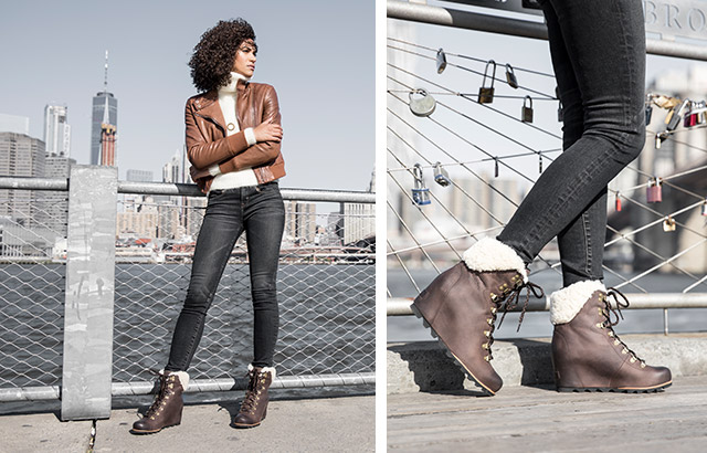 A woman standing in shearling ankle boots.