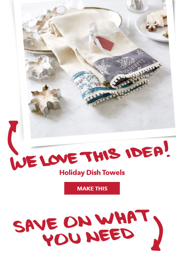 We love this idea! Holiday Dish Towels. MAKE THIS.