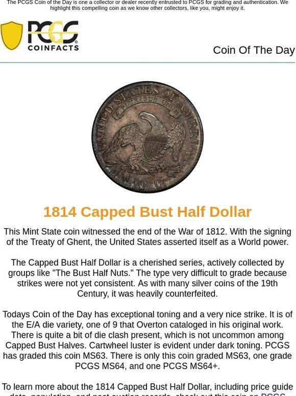 PCGS: Coin of the Day: 1814 Capped Bust Half Dollar | Milled