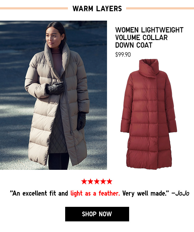 Women Lightweight Volume Collar Down Coat $99.90 - Shop Now