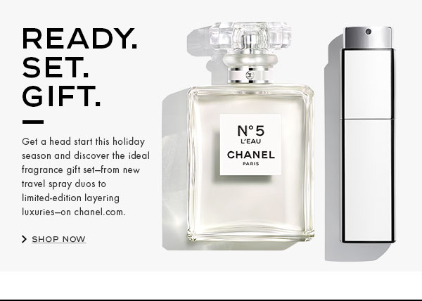 READY. SET. GIFT. Get a head start this holiday season and discover the ideal fragrance gift set-from new travel spray duos to limited-edition layering luxuries-on chanel.com.