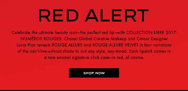 Celebrate the ultimate beauty icon-the perfect red lip-with COLLECTION LIBRE 2017: NUMÉROS ROUGES. Chanel Global Creative Makeup and Colour Designer Lucia Pica reveals ROUGE ALLURE and ROUGE ALLURE VELVET in four variations of the can't-live-without shade to suit any style, any mood.
