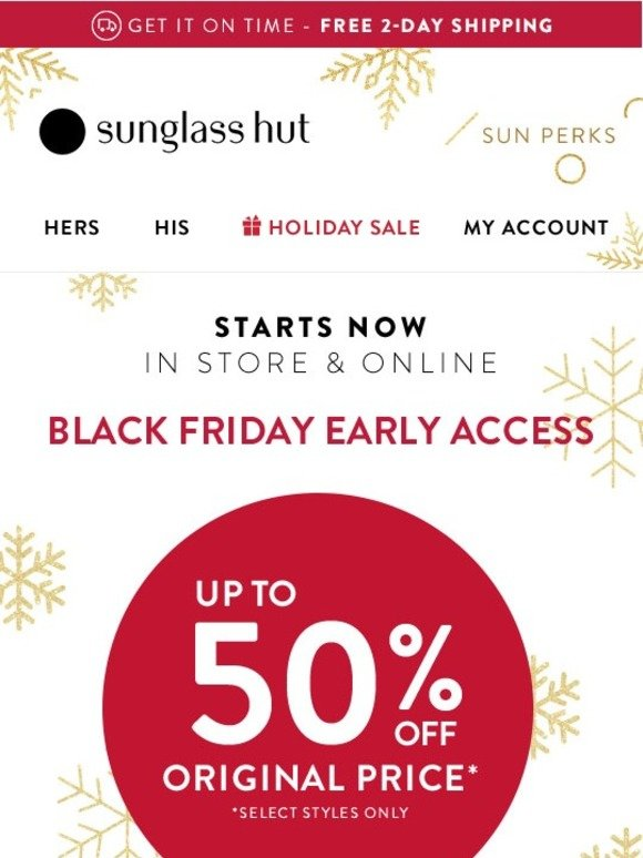4ef29aca5f Sunglass Hut  Up to 50% Off