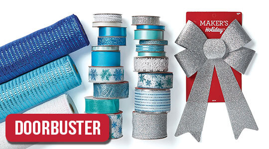 Holiday Ribbon, Bows, Decorative Mesh and Offray Basic By-The-Spool Ribbon.