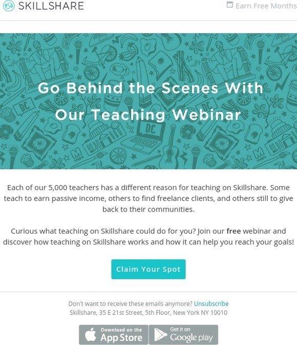 Skillshare: Claim Your Spot for Our Free Teaching Webinar