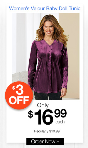 Women's Velour Baby Doll Tunic
