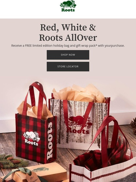 53fedcc7796 Roots Canada  Our holiday bags and gift wrap are here!