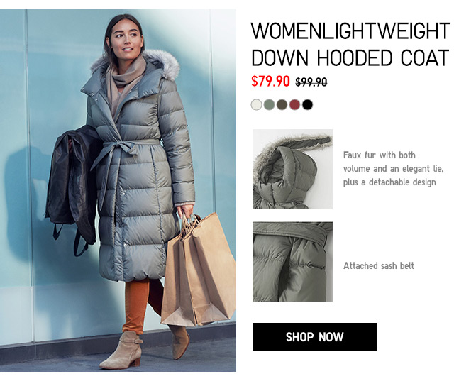 WOMEN LIGHTWEIGHT DOWN HOODED COAT $79.90 - shop now