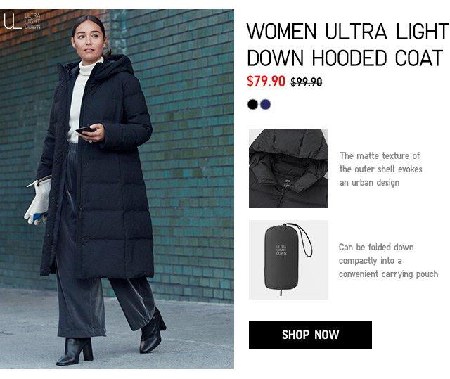WOMEN ULTRA LIGHT DOWN HOODED COAT $79.90 - shop now