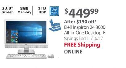 Dell Inspiron 24 3000 All-In-One Desktop, Intel Pentium N3700 Processor, 8GB Memory, 1TB Hard Drive