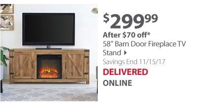 """W. Trends 58"""" Barn Door Fireplace TV Stand - Barnwood"""