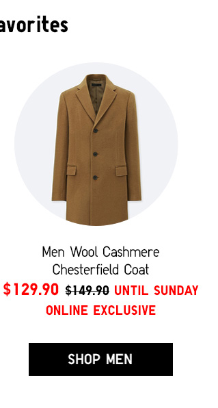 Men Wool Cashmere Chesterfield Coat $129.90 UNTIL SUNDAY - ONLINE EXCLUSIVE