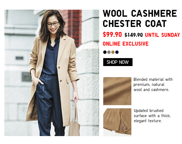 Women Wool Cashmere Chester Coat $99.90 UNTIL SUNDAY -ONLINE EXCLUSIVE
