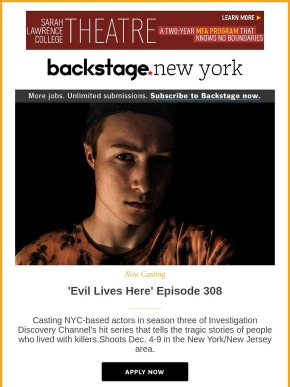 Backstage Nyc Actors Get Cast In A New Episode Of Evil