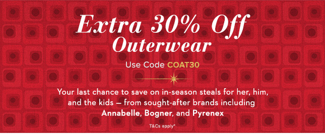 Extra 30% Off Outerwear, Use Code COAT30