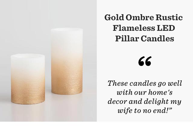 Gold Ombre Rustic Flameless LED Pillar Candles ›