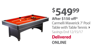 Carmelli Maverick 7' Pool Table with Table Tennis