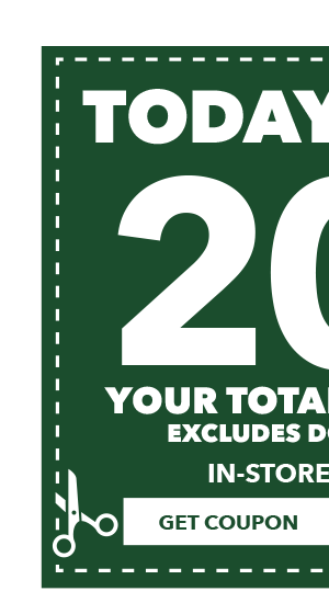 TODAY ONLY! 20% off  your total purchase. Excludes Doorbusters. GET COUPON.