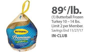 (1) Butterball Frozen Turkey