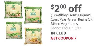 (1) Wellsley Farms Organic Corn, peas, Green Beans OR Mixed Vegetables