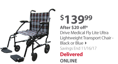 Drive Medical Fly Lite Ultra Lightweight Transport Chair - Black