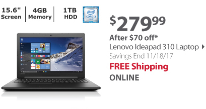 Lenovo Ideapad 310 Laptop, Intel Core i3-6100U Processor, 4GB Memory, 1TB Hard Drive