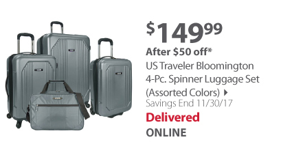 U.S. Traveler Bloomington 4-Pc. Spinner Luggage Set