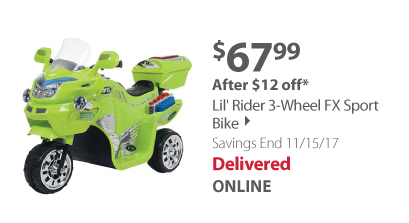 Lil' Rider 3-Wheel FX Sport Bike - Green