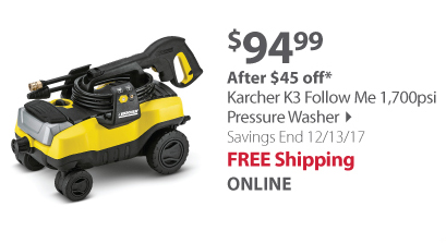 Karcher K3 Follow Me 1,700psi Pressure Washer