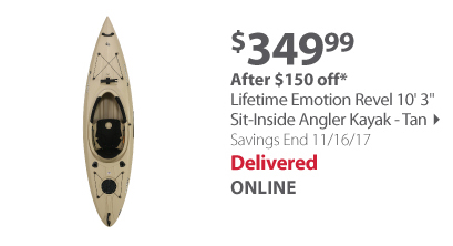 "Lifetime Emotion Revel 10'3"" Sit-Inside Angler Kayak - Tan"