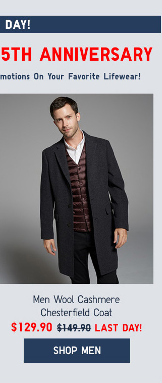 LAST DAY! IT'S UNIQLO.COM'S 5TH ANNIVERSARY - Men Wool Cashmere Chesterfield Coat $129.90 - LAST DAY! - Shop Men