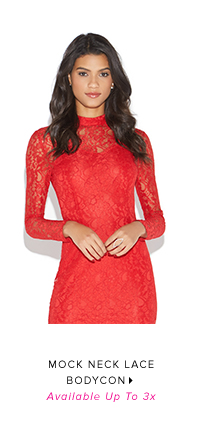 MOCK NECK LACE BODYCON AVAILABLE UP TO 3X