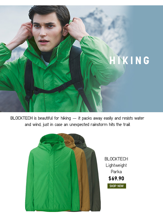HIKING - Men BLOCKTECH Lightweight Parka $69.90 - Shop Now