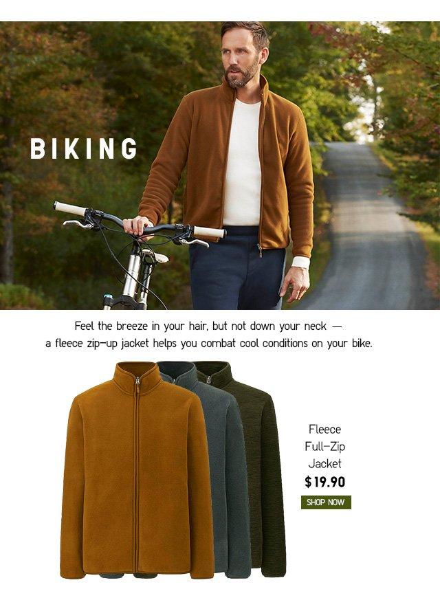 BIKING - Men Fleece Full-Zip Jacket $19.90 - Shop Now