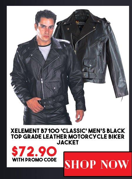 0ad0b291d3a Xelement B7100  Classic  Men s Black TOP GRADE Leather Motorcycle Biker  Jacket ...