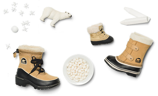 Kid's boots, a polar bear, stars, candy on a white background..