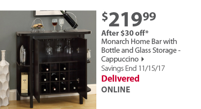Monarch Home Bar with Bottle and Glass Storage
