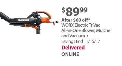 WORX Electric TriVac All-in-One Blower, Mulcher and Vacuum