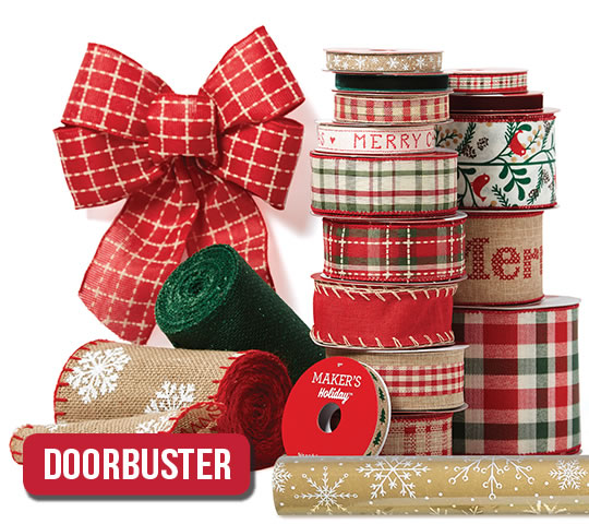 Holiday Ribbon, Bows, Decorative Mesh and Gift Wrap.