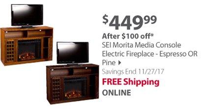 SEI Morita Media Console Electric Fireplace