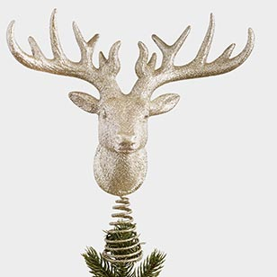 Glittered Stag Head Tree Topper ›