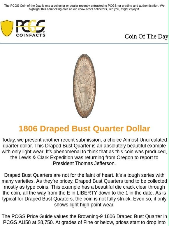 PCGS: Coin of the Day: 1806 Draped Bust Quarter Dollar | Milled