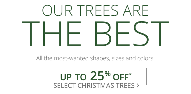Up to 25% off select Christmas trees.
