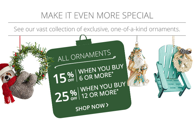 15% off when you buy 6 or more ornaments, 25% off when your 12 or more ornaments.