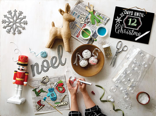 Fab Lab Holiday Craft Supplies and Clear, Fillable Boxed Ornaments.