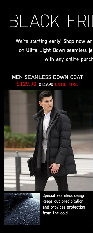 BLACK FRIDAY EVENT - Men Seamless Down Coat $129.90 - Shop Now